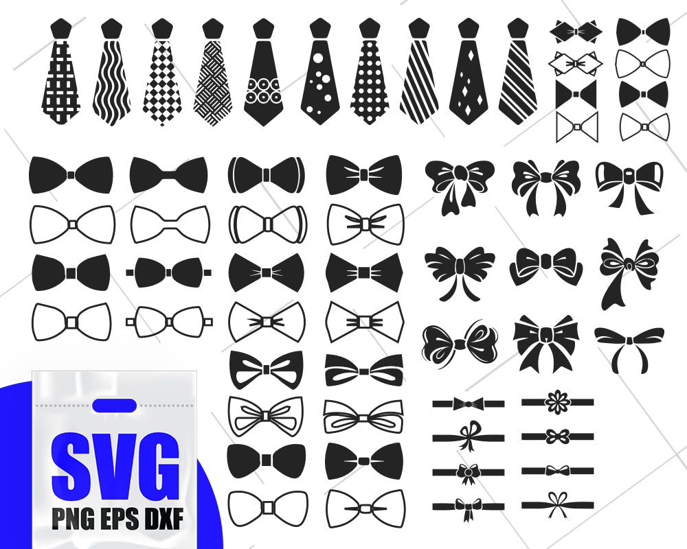 Bow and Tie SVG Bundle, Bow SVG, Bow Clipart, Bow Cut Files For Silhouette, Bow Vector, Tie Vector