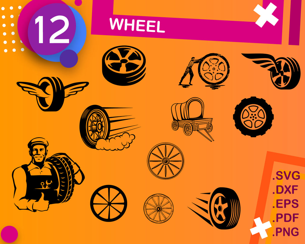 Wheel svg, tires svg, car svg, Alloy Wheels, road, race, tires, clipart, decal, stencil, vinyl, cut file, silhouette, eps, dxf png