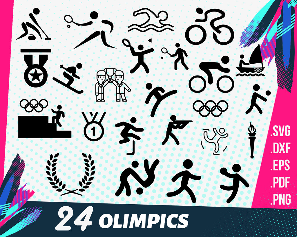 Olympics svg, Digital Clipart Olympic Rings Silhouettes for cutting, scrapbooking sport svg, png, dxf, eps vector images, game logo cut printable files
