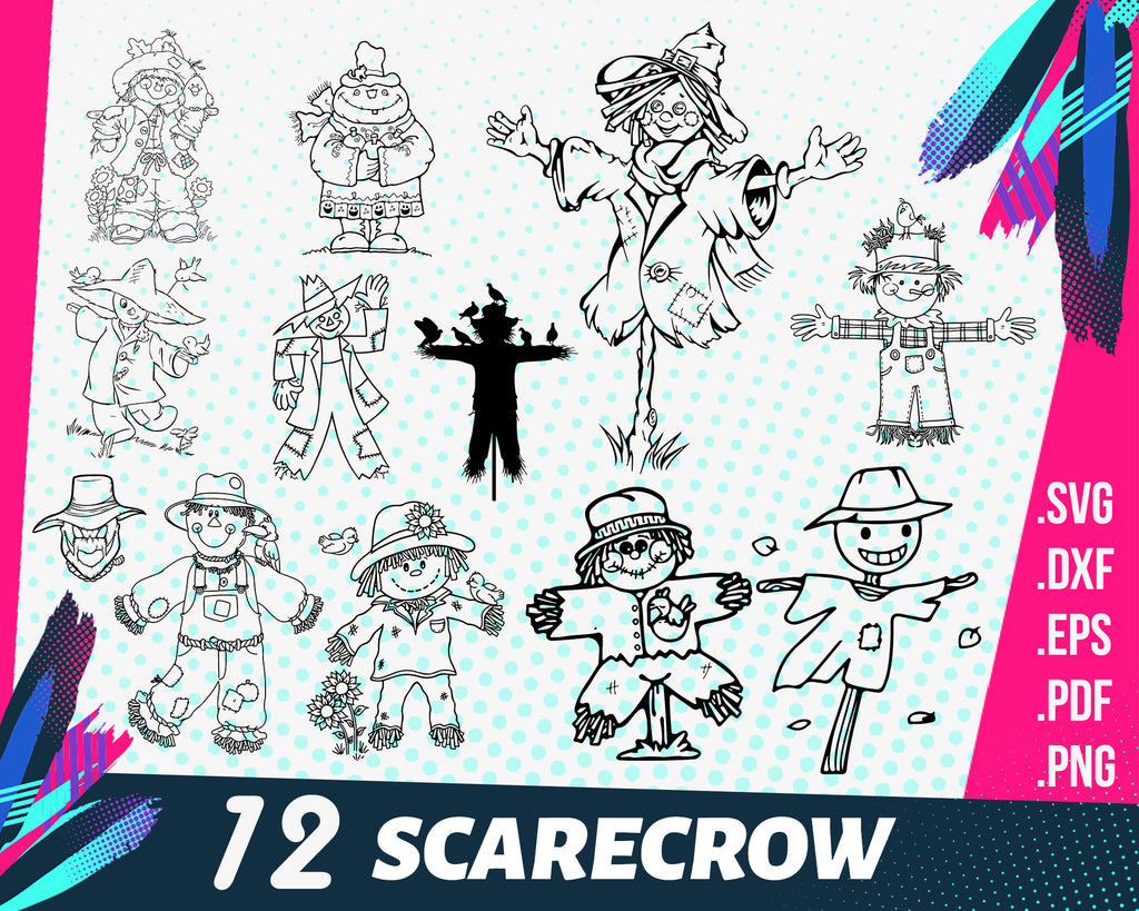 SCARECROW SVG, scarecrow clipart svg png scarecrow farm svg crow silhouette decal farmer svg scarecrows file cut cricut svg scarecrows svg