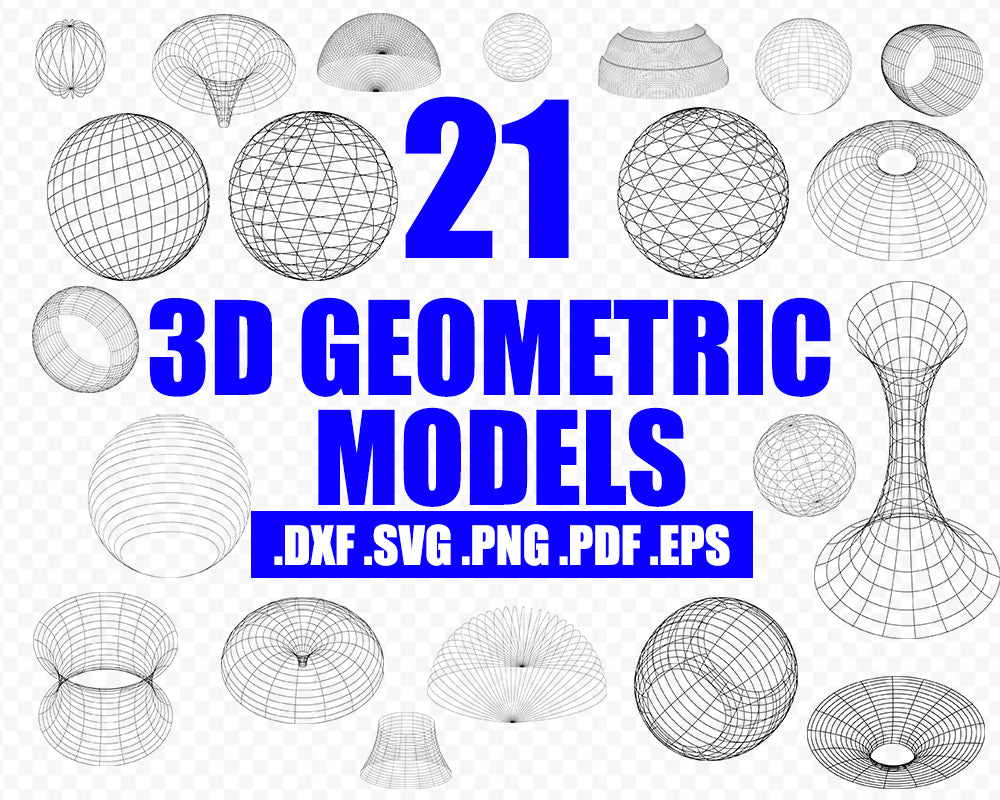 3D Geometric Models silhouette vector svg