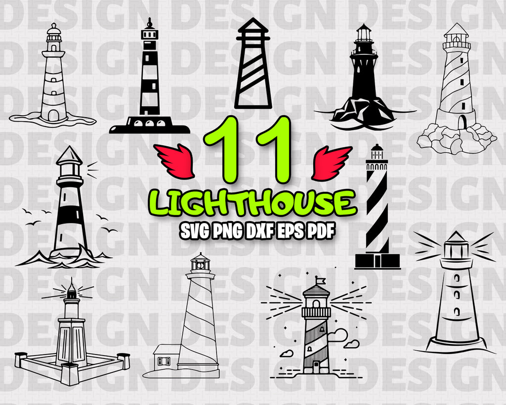 Lighthouse SVG Bundle, Lighthouse Vector, Lighthouse Clipart, Cut Files For Silhouette, Files for Cricut, Vector, Light House Svg, Dxf, Vinyl Design, Instant Download