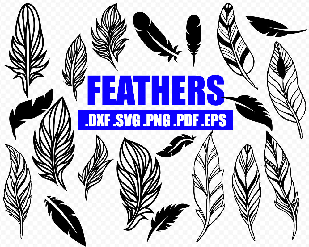 Feather silhouette, Feathers SVG, Feather Clipart, cricut, SVG Feathers, commercial use, Boho Feathers svg, Feather vector