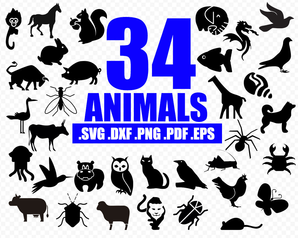 Animals SVG, Animals Silhouette, Animals Clipart, Bear, Bird, Deer, Cut Files, Cricut, Vector Files, svg, png, dxf, eps