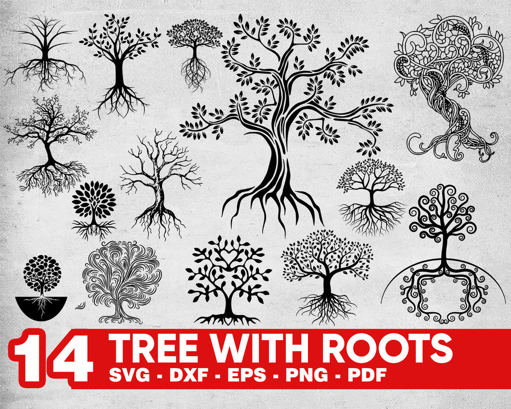 Tree With Roots SVG Bundle, Tree Roots SVG, Clipart, Cut Files For Silhouette, Files for Cricut, Vector, Tree Svg, Roots SVG, Dxf, Png