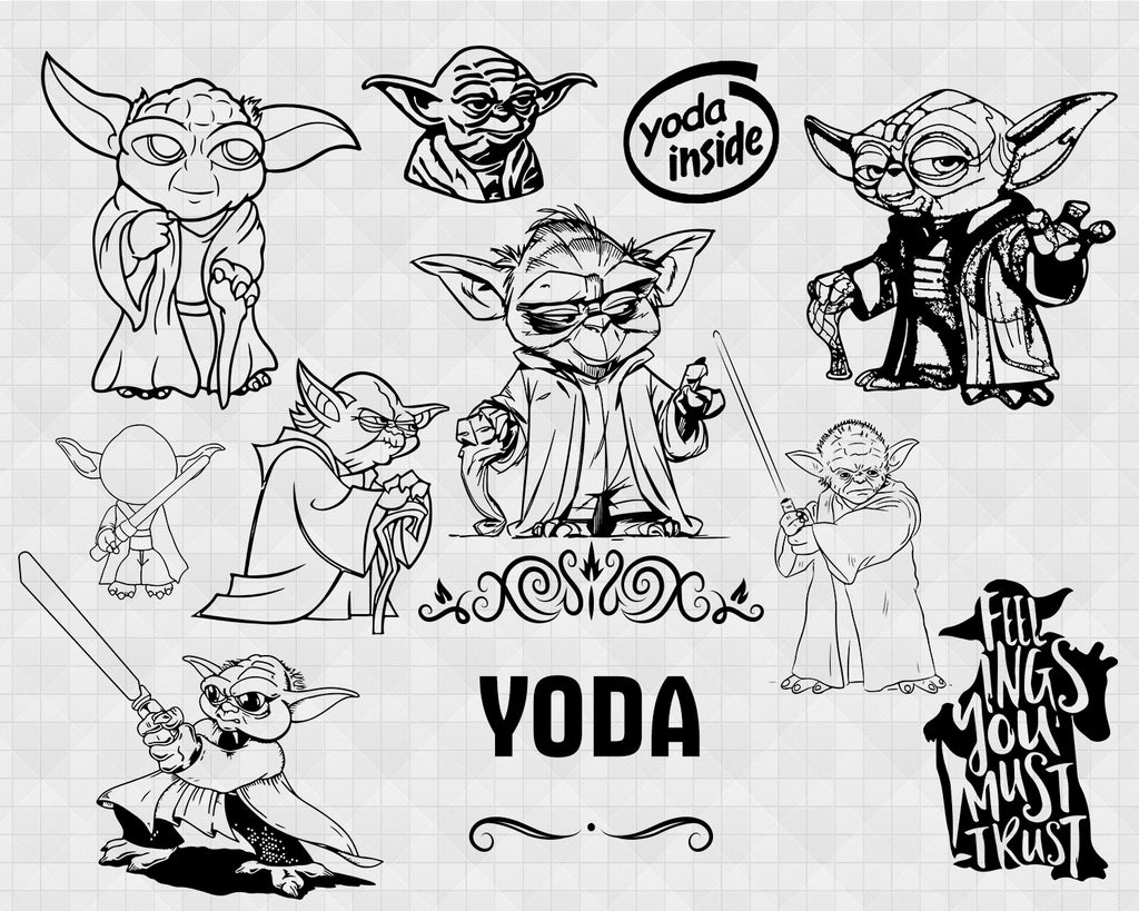 Yoda Svg Baby Yoda Svg Baby Yoda Bundle Svg Star Wars Svg Baby Yod Clipartic