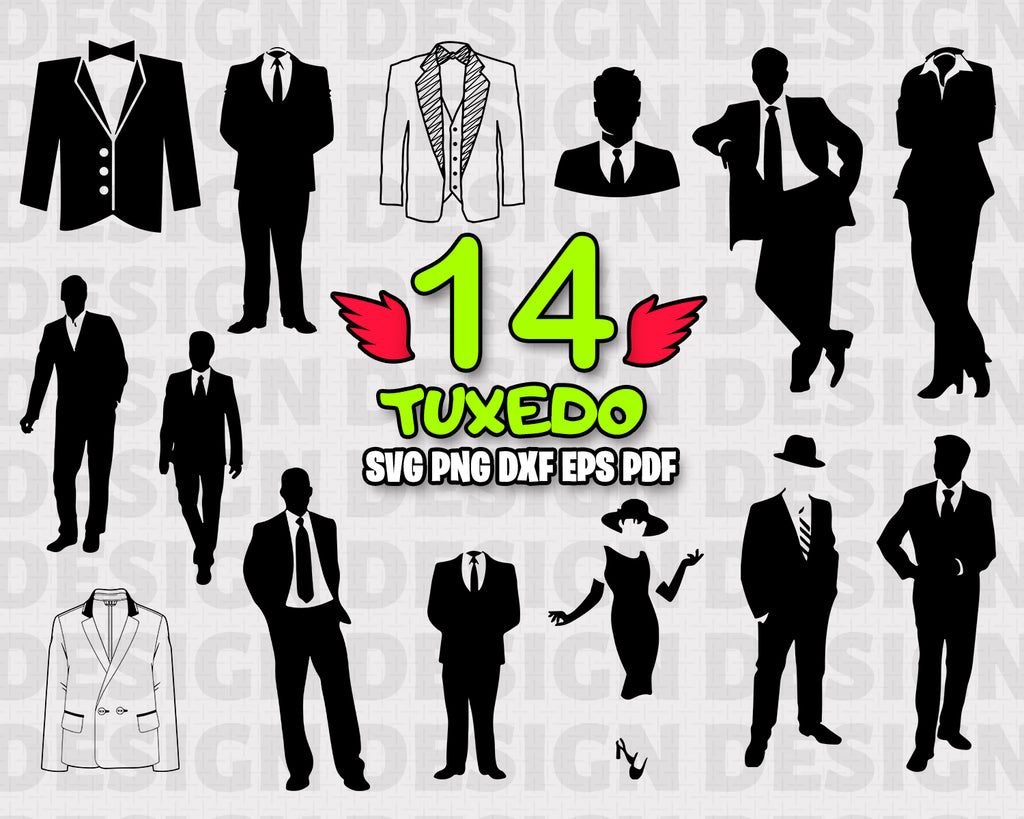 Tuxedo SVG, Tuxedo Bundle, Tuxedo Vector, Tuxedo Clipart, People, Tuxedo Cut Files For Silhouette, Files for Cricut, Tuxedo Vector, Svg, Dxf, Png, Eps, Vinyl Design, Instant Download
