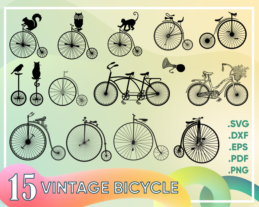 Vintage bicycle with birds, leaves and flowers, digital clip art, bike clipart, printable, illustration, EPS, SVG, instant download