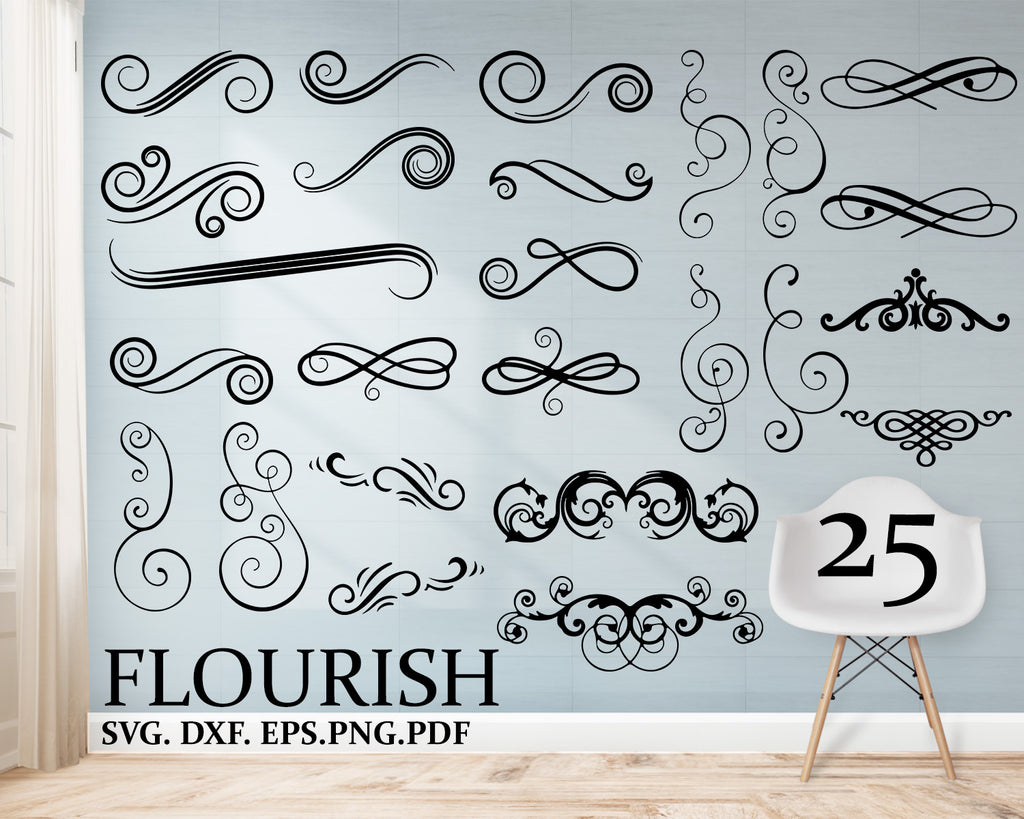 Flourish svg, Swirl svg, dxf, eps, png, jpg, pdf, Ornament Clip Art, Monogram Frame, Pattern Flower Vintage Curls