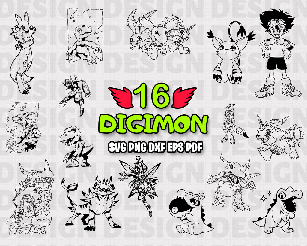 Digimon SVG, clipart, silhouette, stencil, file cricut, cut file, cutting file, vector files - .EPS .DXF .SVG .PNG .PDF, vinyl design, files for crafters, instant download