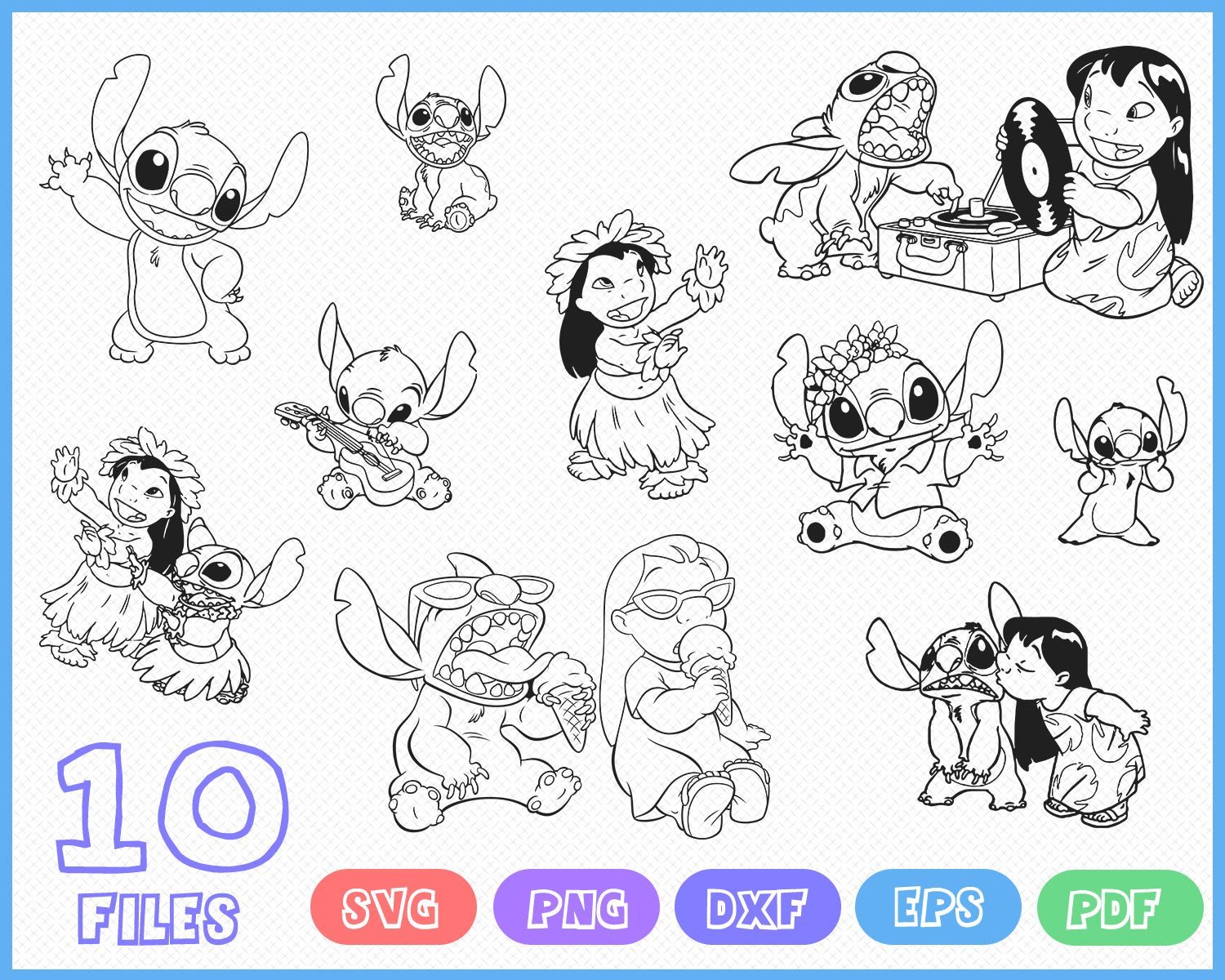 experiment 626 Digital File Only DXF PNG jpg starbucks cup decal alien cricut Stitch SVG bundle silhouette Lilo and stitch stitch