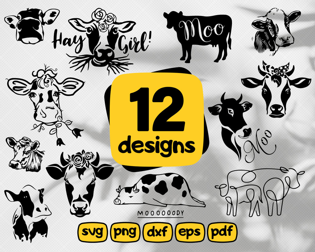 COW SVG/ ox svg/ cattle svg/ cute cow/ cow head svg/ bull svg/ farm animal svg/ clipart/ stencil/ vinyl cut files/ iron on files/ silhouette