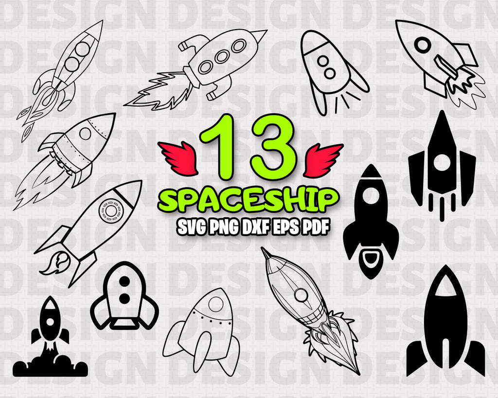 SPACESHIP SVG, clipart, silhouette, stencil, file cricut, cut file, cutting file, vector files - .EPS .DXF .SVG .PNG .PDF, vinyl design, files for crafters, instant download