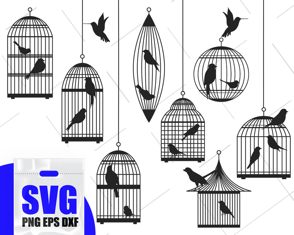 Birds in a cage silhouette