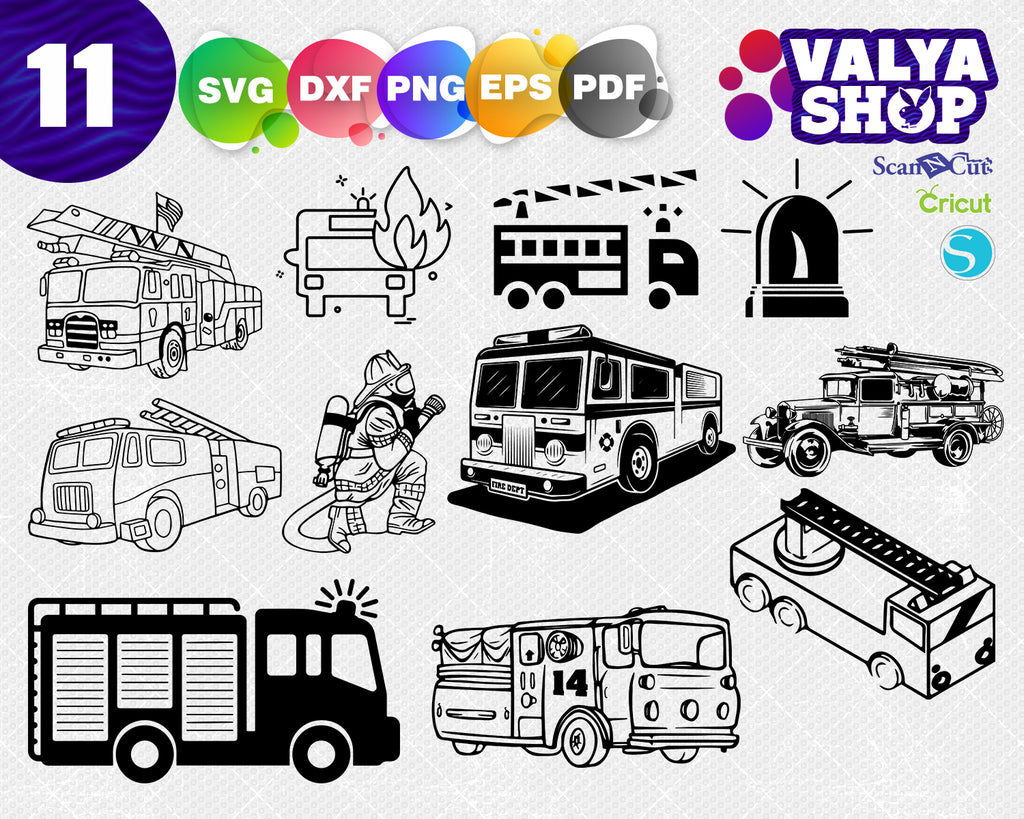 Fire Truck SVG File, Fire Engine svg, Tree Farm svg, Cricut svg, Silhouette svg, Vinyl Cut svg, Vector Art for Commercial & Personal Use
