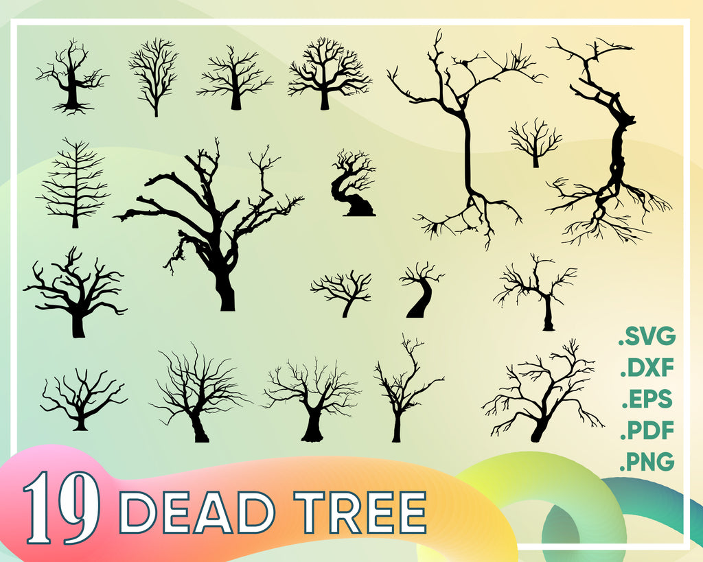 Dead Tree svg, 19 halloween dead trees silhouettes svg | 19 spooky halloween trees svg designs | printable | cut files | cricut | silhouette studio