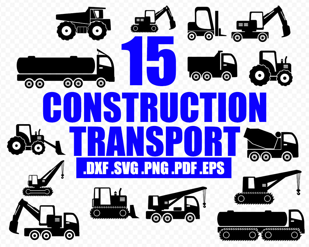 CONSTRUCTION TRANSPORT, digger vehicle SVG, Digger svg, Excavator vector, Tractor silhouette , Construction machine svg, Excavator clipart