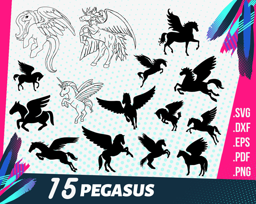 Pegasus svg, Pegasus SVG Bundle | Unicorn DXF | Нorse Cut File | Pegasus SVG File | Commercial & Personal Use for Cricut | Cameo | Silhouette
