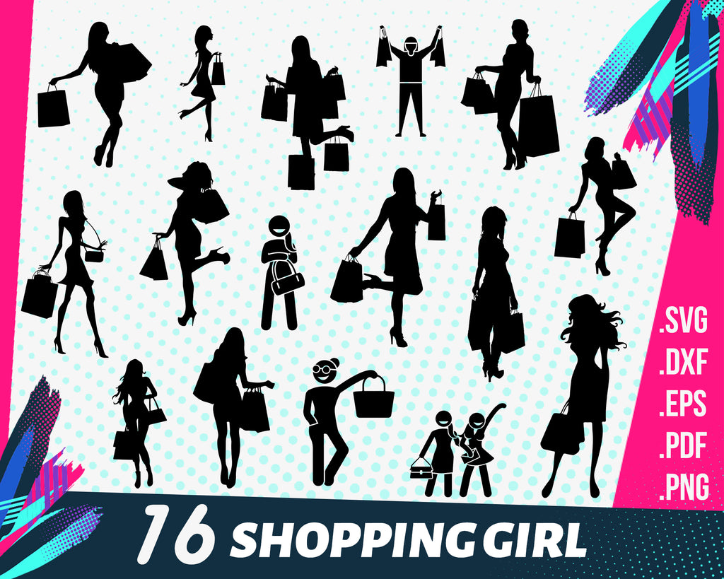 Shopping girl svg, Woman Silhouette svg, Woman SVG, Women Clip Art, Sexy girl, Lady Silhouette, Fashion Girl, Girl Silhouette, woman shopping
