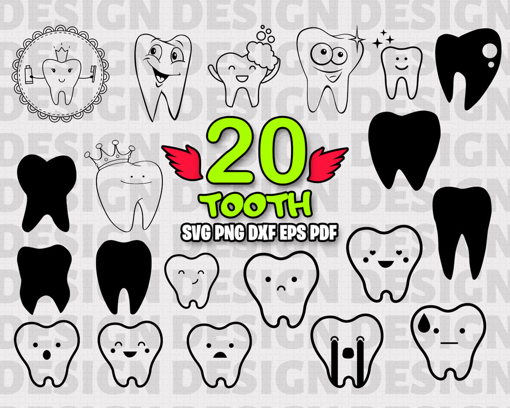 Tooth SVG, Baby Tooth Vector, Tooth Clipart, Tooth Cut Files For Silhouette, Tooth Files for Cricut, Tooth Vector, Dentist Svg, Dxf, Png, Instant Download