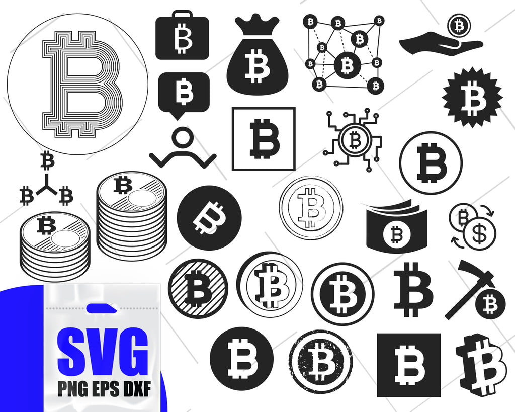Bitcoin svg bundle, bitcoin dxf, crypto svg, jpg, png, ai cutting files, clip art, printable, Silhouette Cameo