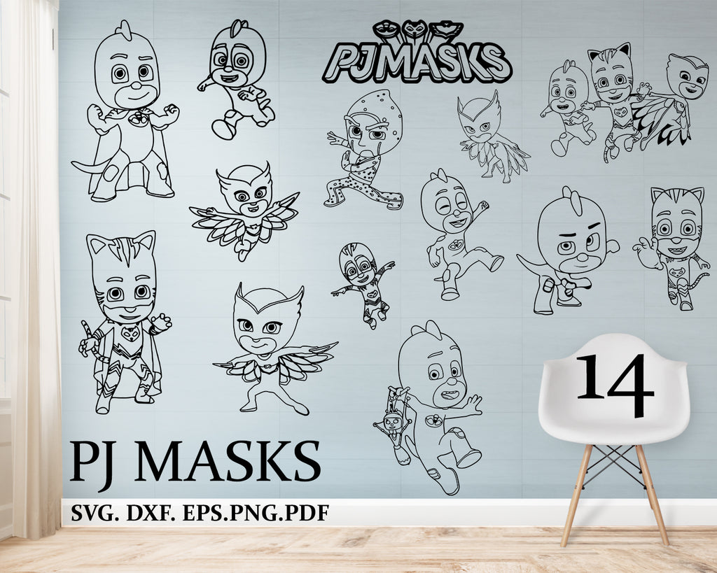 Pj masks svg, files, dxf files, eps files, png files, Download, Cut File, Clipart, Cricut, Silhouette
