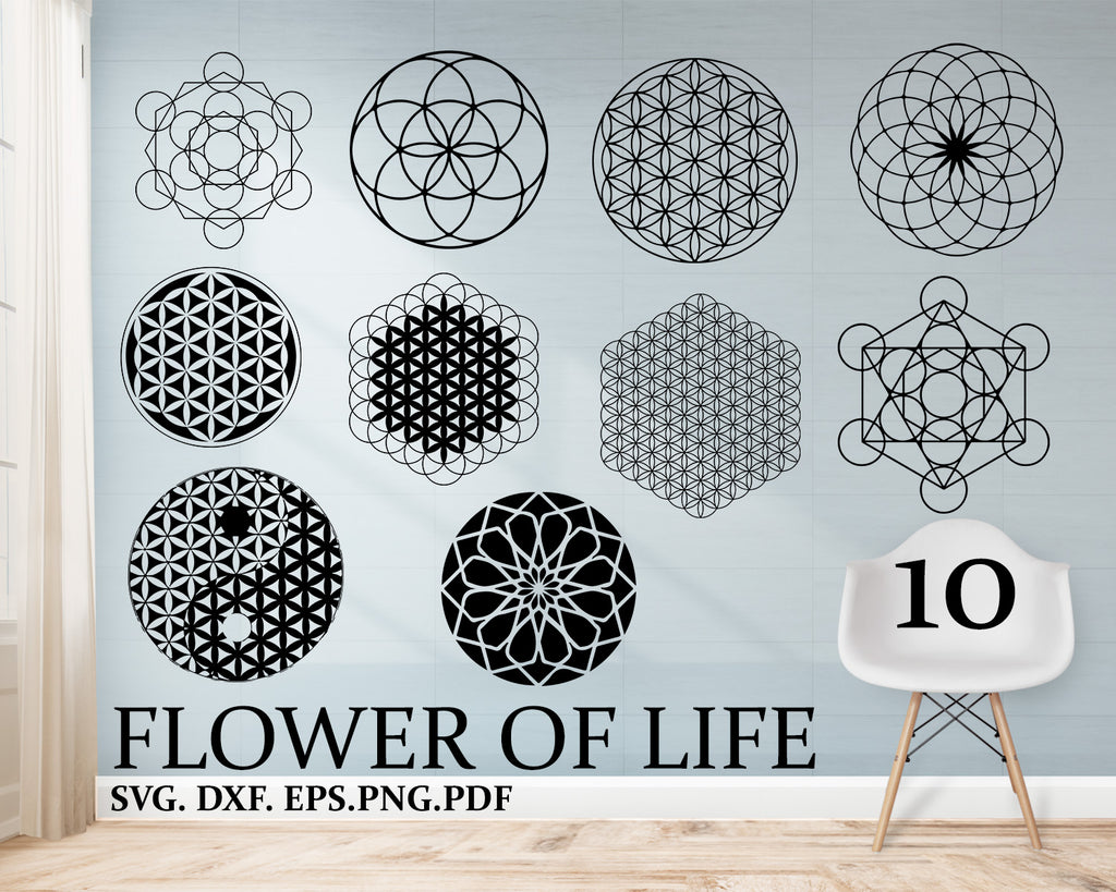 Flower of life svg, Crystal grid SVG, Sacred geometry, vector, art printable, wall art decal, clipart, cut file, home room decor, digital download
