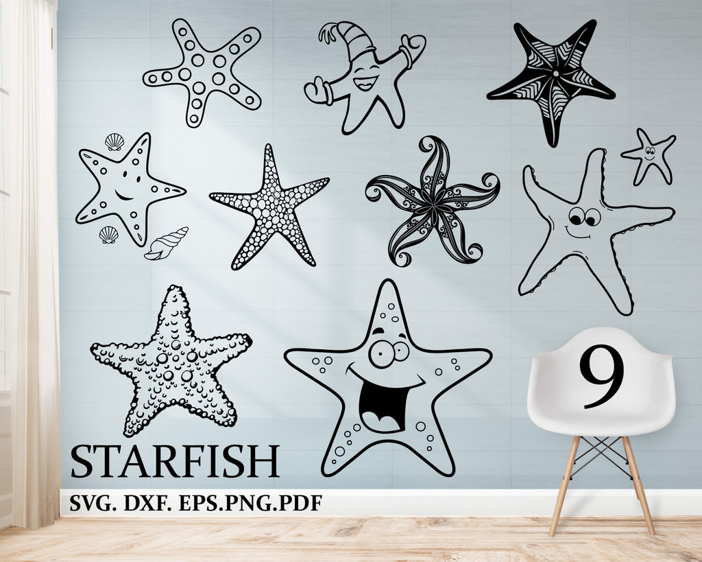 Starfish svg, Starfish Bundle, Starfish Clipart, Cut Files For Silhouette, Files for Cricut, Starfish Vector, Svg, Dxf, Png, Eps, Design