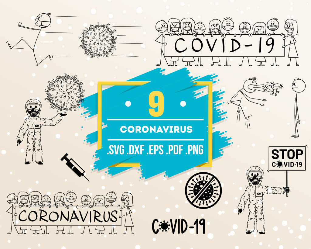 Coronavirus SVG, Corona virus, Virus svg, covid - 19, clipart, Silhouette Studio, Holiday, Cricut Cut File, Doctor, China svg, vector file - .EPS .DXF .SVG .PNG .PDF, file for crafters, iron on, Instant Download
