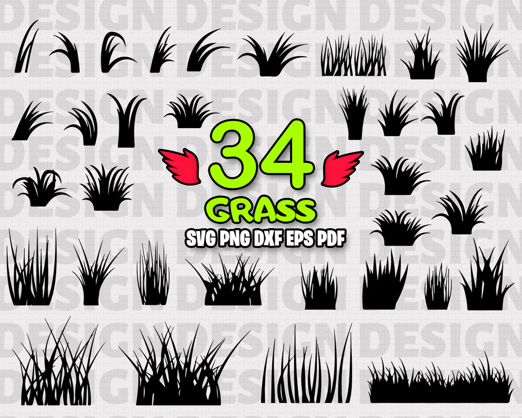 Grass SVG Bundle, Grass Vector, Grass Clipart, Grass Cut Files For Silhouette, Files for Cricut, Grass Vector, Field Svg, Dxf, Png, Eps, Vinyl Design, Instant Download