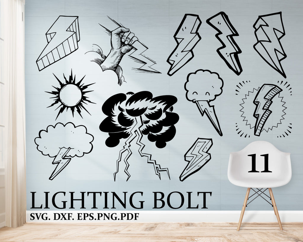 Lighting Bolt svg, Lighting SVG, summer svg, lamp svg, lighting silhouette, lighting clipart, lighting clipart, light svg, flesh stencil, dxf