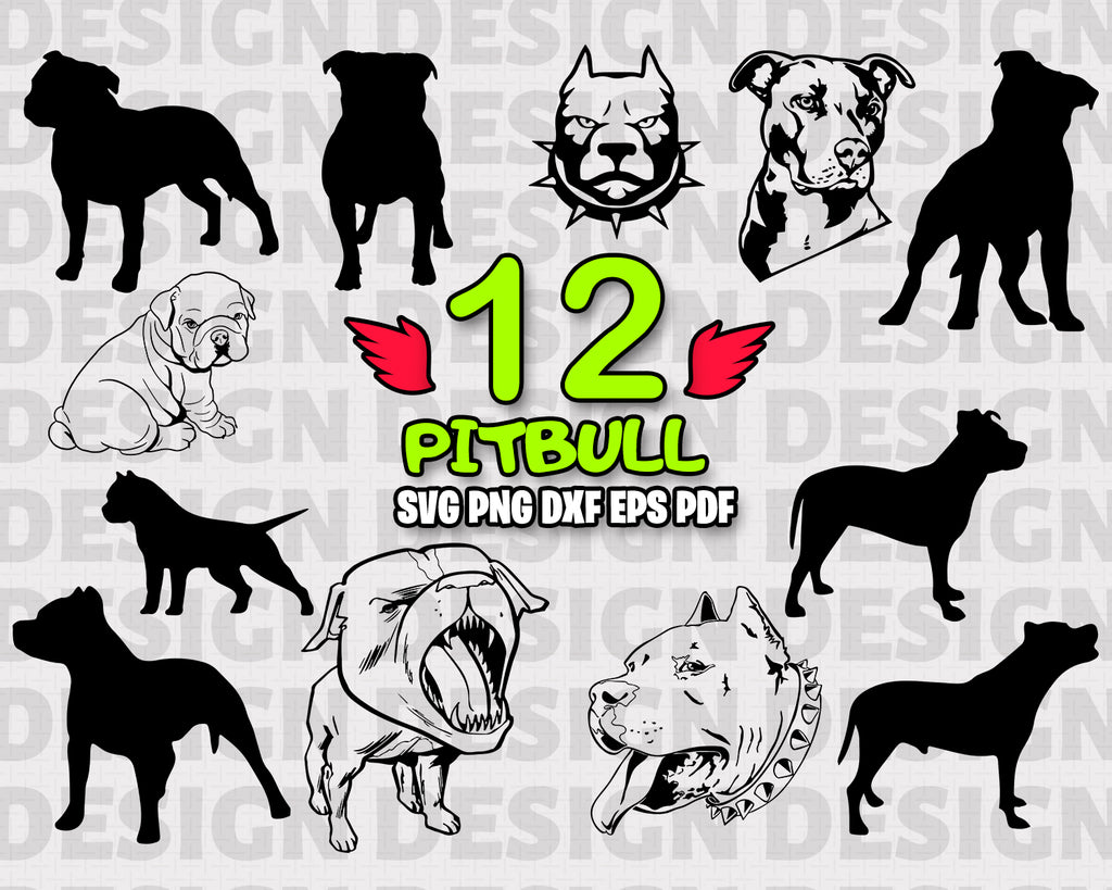 Pitbull SVG - Pitbull Silhouette SVG - Dog SVG - Animals - Digital Cutting File - Vector File - Cricut Cut - Instant Download