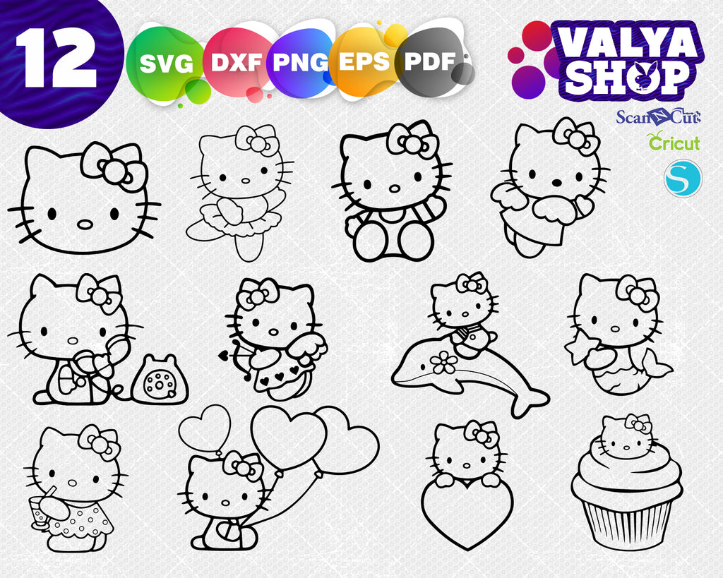 Hello Kitty svg, cute hello kitty svg file, svg cricut, silhouette cut file, instant download