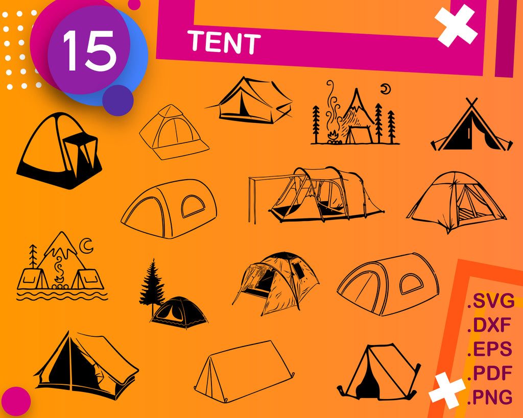 Tent svg, tent clipart, tent camping svg, camping svg, camper svg, camp svg, happy camper svg, circus tent svg, travel svg, camping svg files