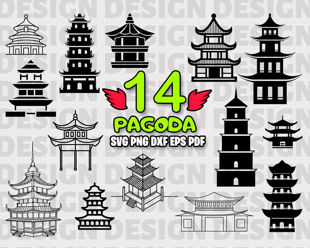 Pagoda SVG, Japan, Holiday SVG, DXF, PNG, EPS, Cut File, vinyl decal, Cricut Design, Silhouette studio, digital instant download
