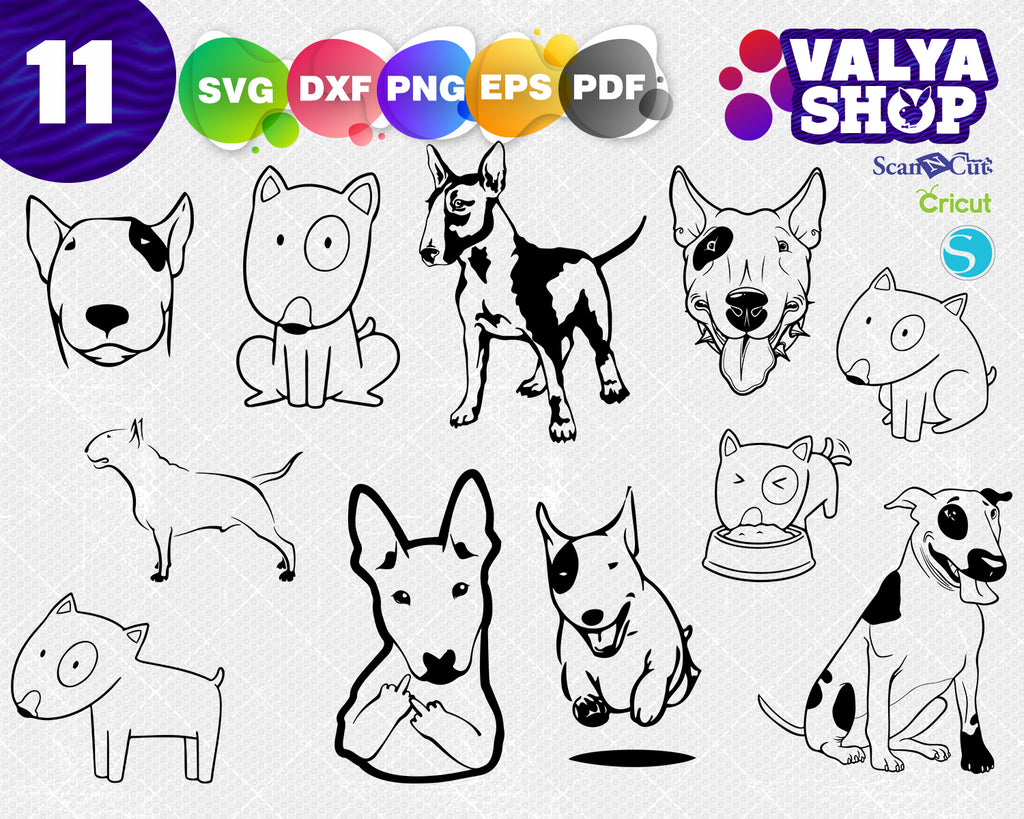 Bull Terrier svg file, Dog, digital Pitbull download Puppy silhouette Pet vector decal for cricut clipart bundle vinyl sticker image eps dxf svg png