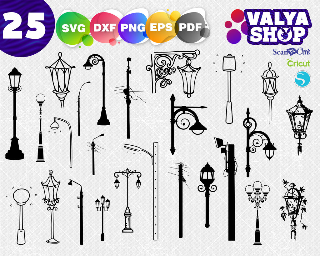 Lamp post svg, street lamp, street post, lighting fixture, lighting design, vintage svg, clipart stencil template transfer svg vector