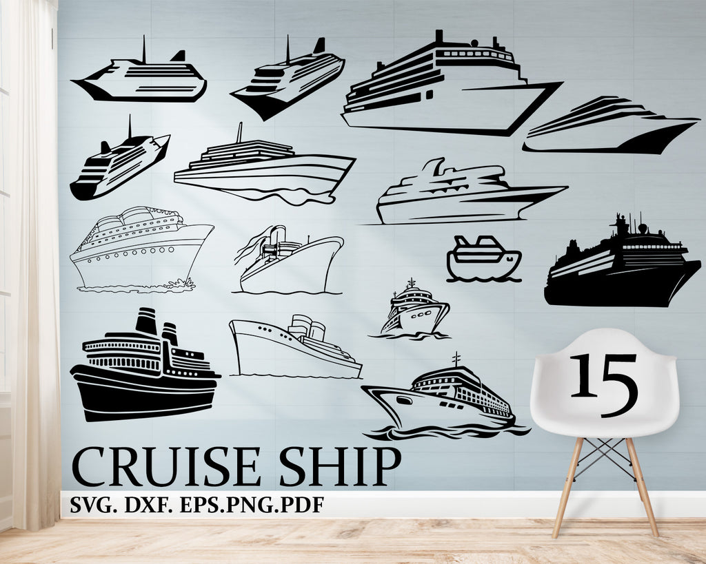 Cruise Ship Svg Files, Cruise Clipart, Cruise Boat Svg, Use With Silhouette Software, Svg Instant Download Files, EPS File, DXF File