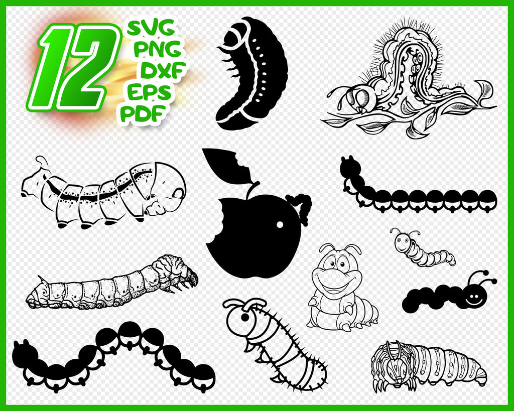 Caterpillar SVG, Caterpillar Clipart, Caterpillar Files for Cricut, Caterpillar Cut Files For Silhouette, Caterpillar Dxf, Png, Eps, Vector