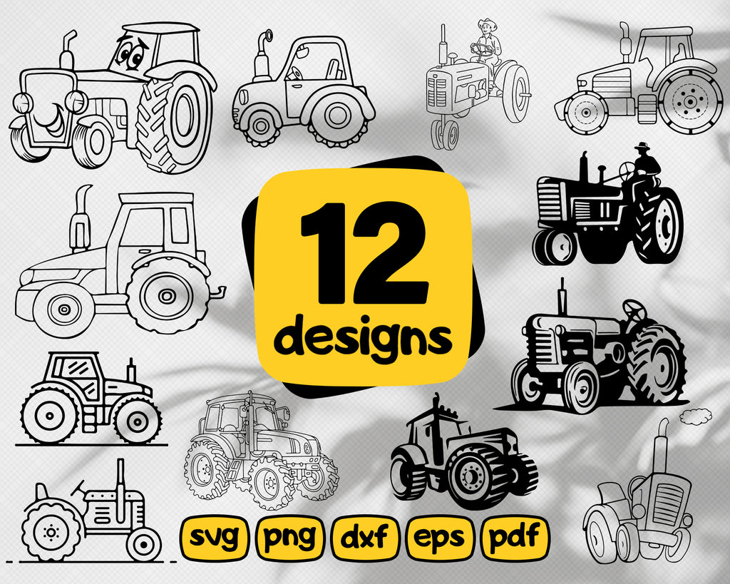 Tractor svg, Tractor SVG Bundle, Tractor SVG, Clipart, Tractor Cut Files For Silhouette, Files for Cricut, Farm Tractor Vector, Svg, Dxf, Png, Eps,