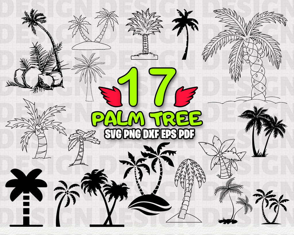 Palm tree SVG, Palm Bundle, Beach palm, Palm Tree Clipart, Palm Cut Files For Silhouette, Files for Cricut, Vector, Svg, Dxf, Png, Eps, Vinyl Design, Holiday Summer svg, Digital Download