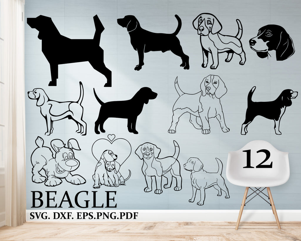 Beagle svg, beagle dog svg, dog svg, cartoon beagle, cute beagle svg, puppy svg, clipart, decal, stencil, silhouette, png