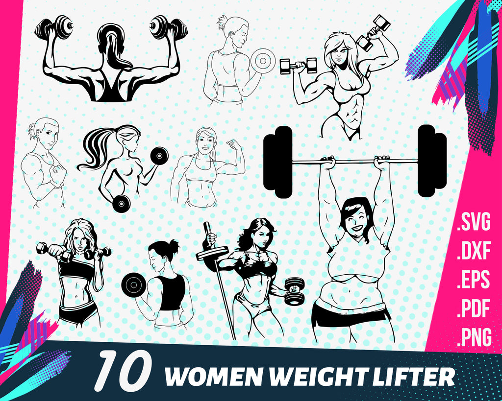 Women weight lifter svg, Women Weight Lifter Silhouette Clip Art Set 18 Piece, Female Body Builder Silhouette, 7 inches, SVG PNG PDF dxf eps