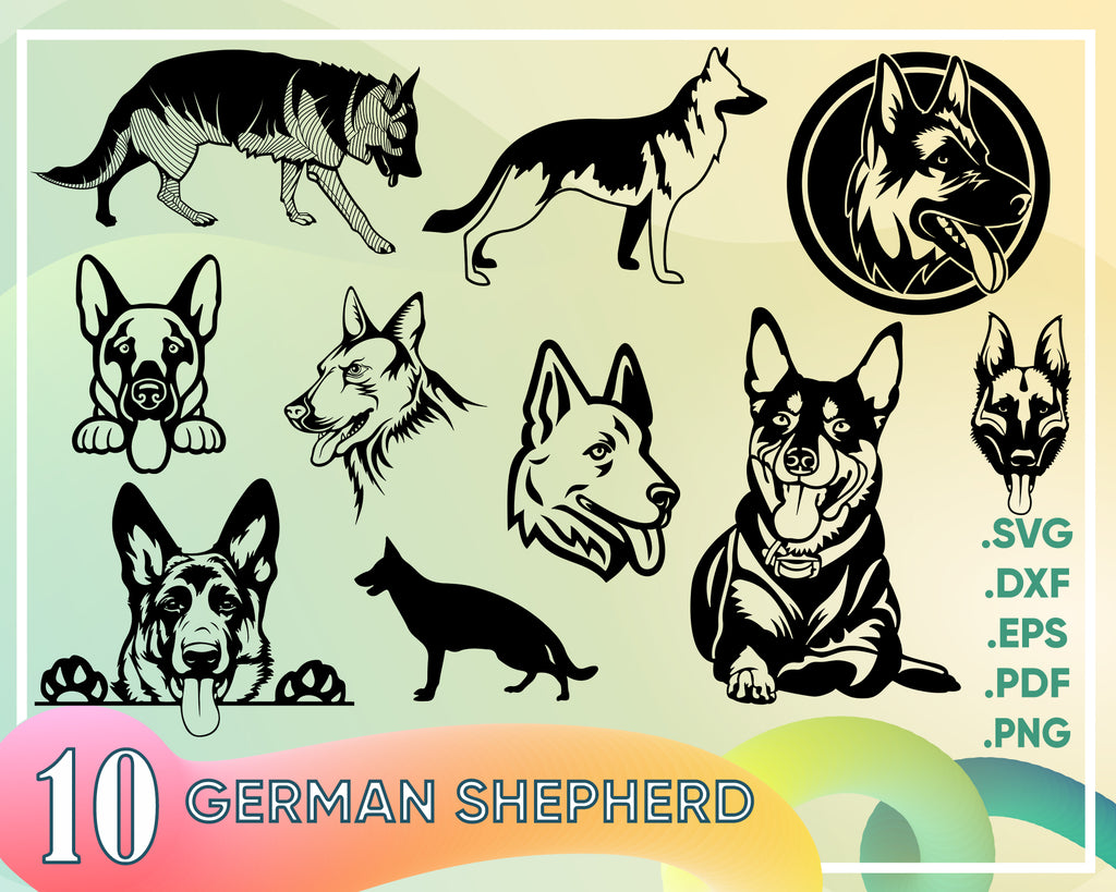 GERMAN SHEPHER SVG, german shepherd dog svg, cute german shepherd svg, puppy svg, clipart, decal, stencil, silhouette, png, iron on, vector