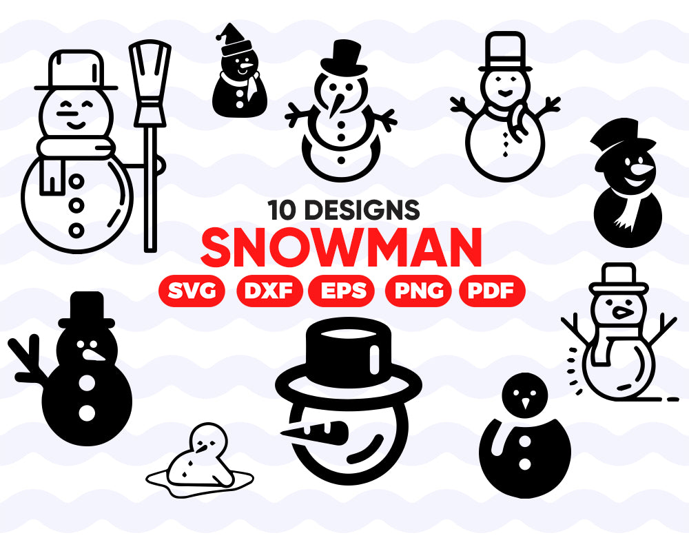 Snowman SVG Cut Files For Cricut, Christmas svg, Holiday, Hand drawn Snowman bundle, vector Christmas clipart .svg .eps .dxf .png, Let it Snow svg
