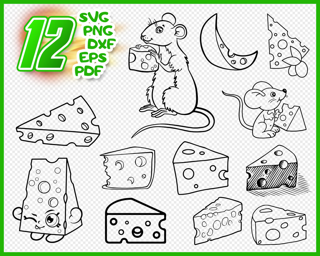 Cheese SVG Bundle, Cheese SVG, Cheese Clipart, Cheese Cut Files For Silhouette, Files for Cricut, Cheese Vector, Svg, Dxf, Png, Eps, Design