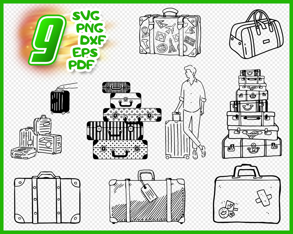 Luggage svg, Luggage svg files, Suitcase svg, Travel svg, Holiday svg, Luggage silhouette, Luggage cut file, Luggage clipart, Luggage clip art, svg