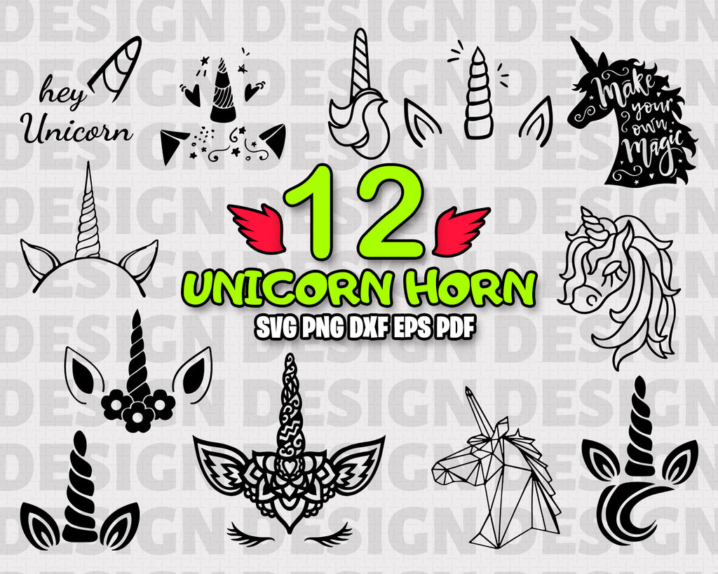 Unicorn horn SVG, stencil, file cricut, magic animal, cut file, cutting file, vector files - .EPS .DXF .SVG .PNG .PDF, vinyl design, files for crafters, instant download