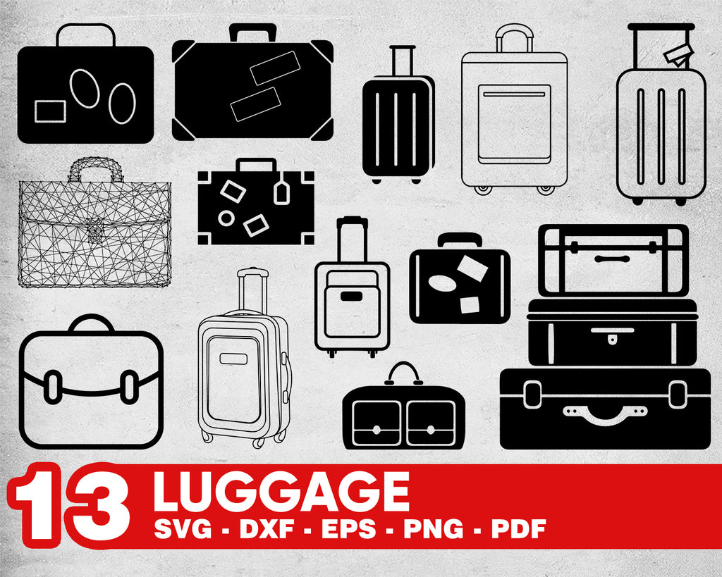 LUGGAGE SVG, travel, suitcase, trave, svg png dxf eps, clipart, stencil, vinyl cut files, iron on files
