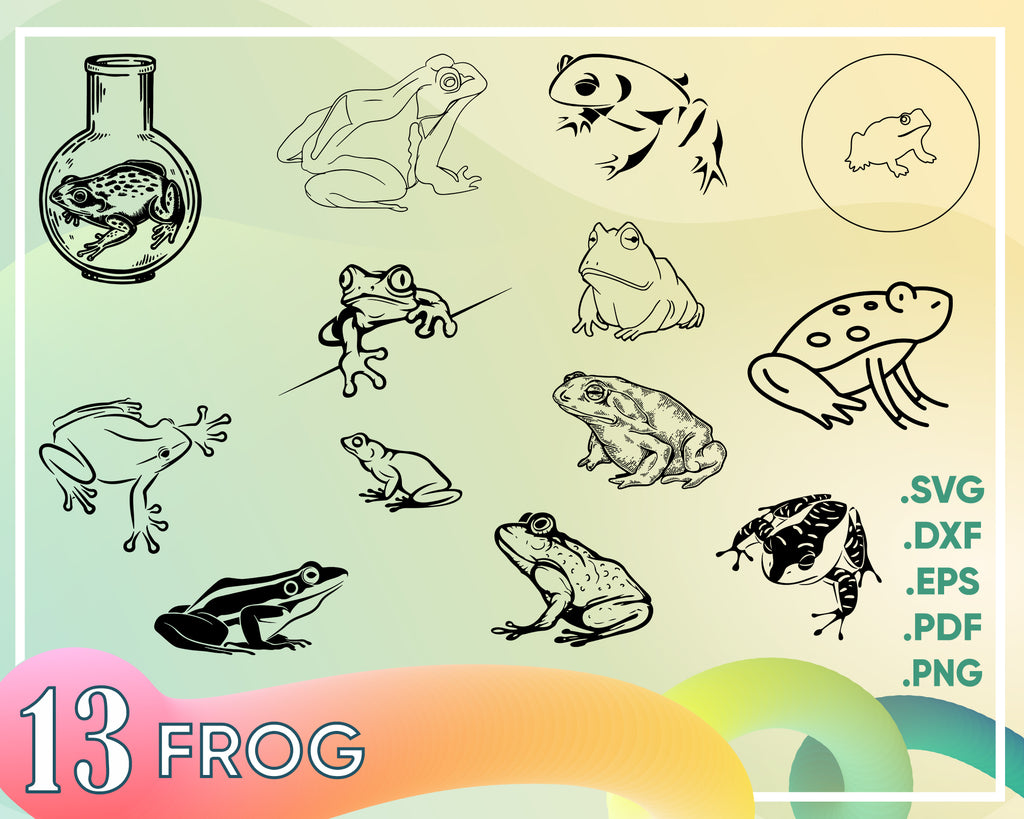 Frog svg, Frog Svg, Frog decal, frog dxf files, frog cliparts, INSTANT DOWNLOAD monogram frames, silhouette cameo, svg file for cricut - Royalty Free.